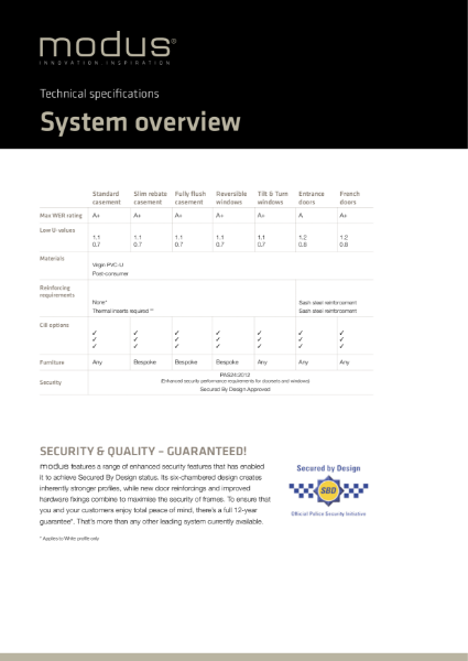 Modus System Overview Technical Specifications