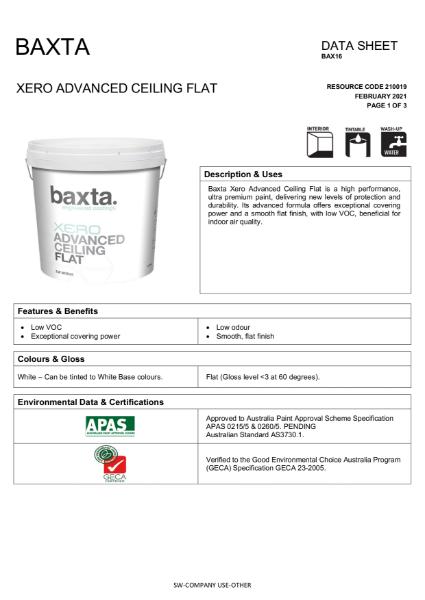 Baxta Xero Advanced Ceiling Flat.
