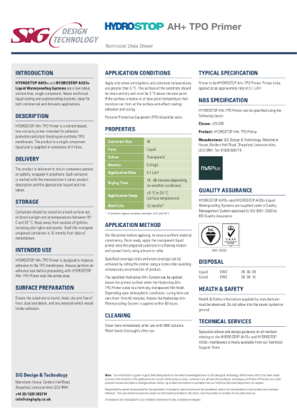 Hydrostop AH+ Liquid Waterproofing TPO Primer datasheet