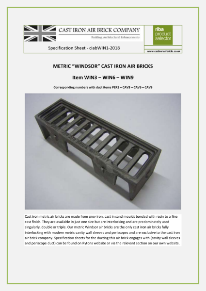Cast Iron Metric Windsor Air Bricks