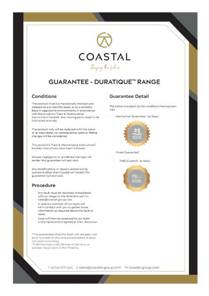 Coastal DURATIQUE™ Hardware Guarantee