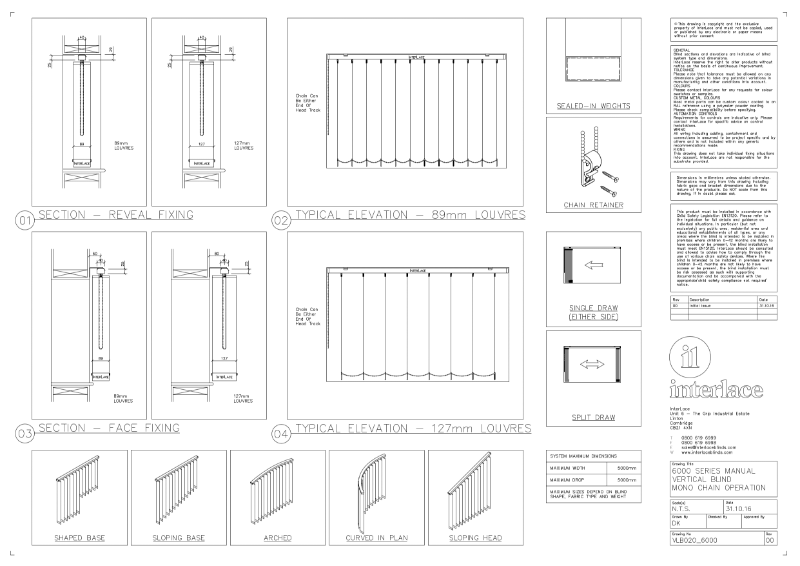 6000 Series Vertical Blind - Drawing Manual Mono Chain