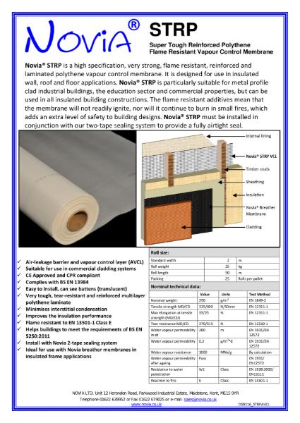 Novia STRP Reinforced Polythene Vapour Barrier