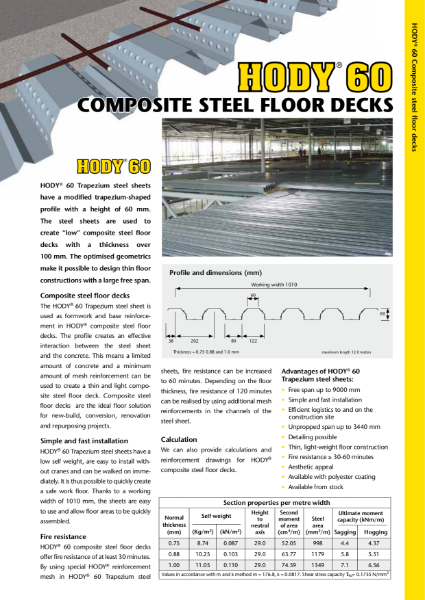 HODY Composite Steel and concrete Deck Floor System