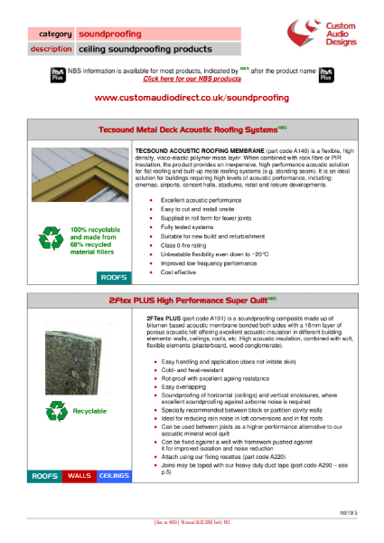 Ceiling Soundproofing & Acoustic Insulation Product Range