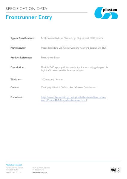 Frontrunner Entry Specification Data