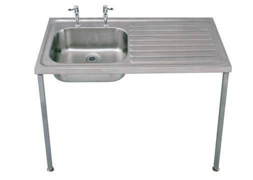 Single bowl and single drainer sink with 2 tap holes
