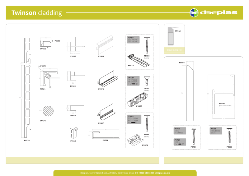 Twinson Premium Cladding Product Chart
