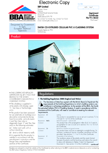 Swish co-extruded cellular PVC-U cladding system