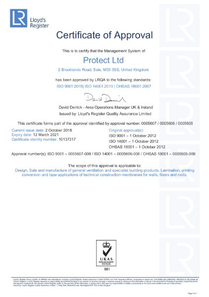 Protect Membranes ISO 9001 14001 OHSAS 18001 Certificate