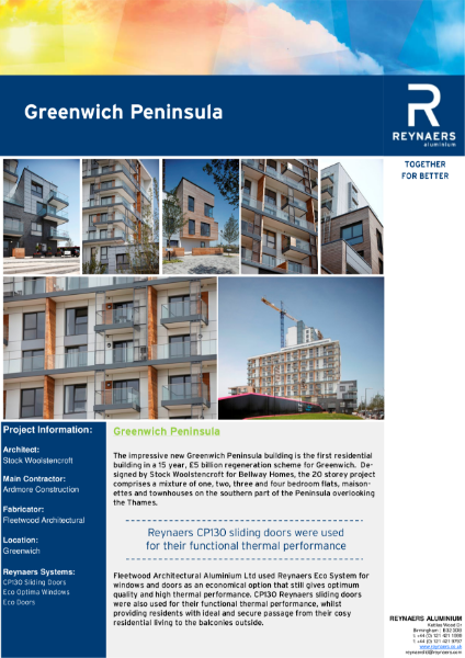 Case Study: Greenwich Peninsula, featuring CP 130 aluminium sliding doors