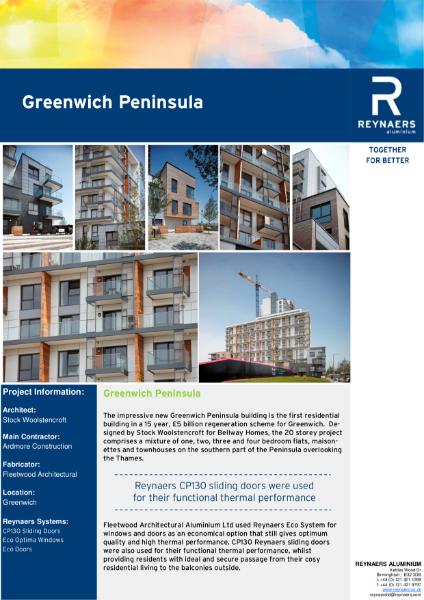 Case Study: Greenwich Peninsula, featuring CP 130 aluminium sliding doors