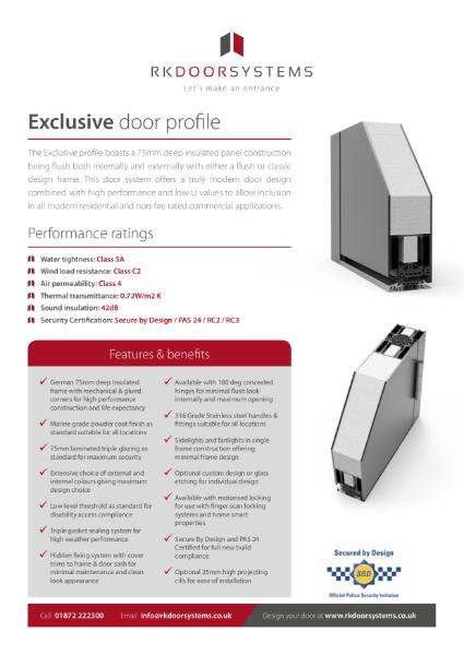 Exclusive Door Data Specification Sheet (Excellence Range)