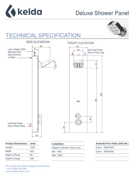 Kelda Showers - Technical Specification - Deluxe Shower Panel