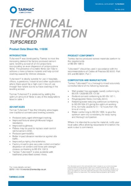 Tufscreed F Technical Data Sheet