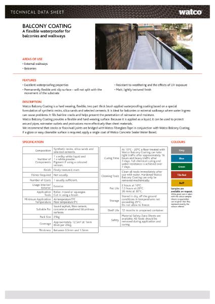 Data Sheet: Balcony Coating