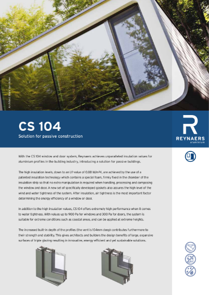 Aluminium Window and Door - CS 104 - Thermally Efficient Window for Passive Construction