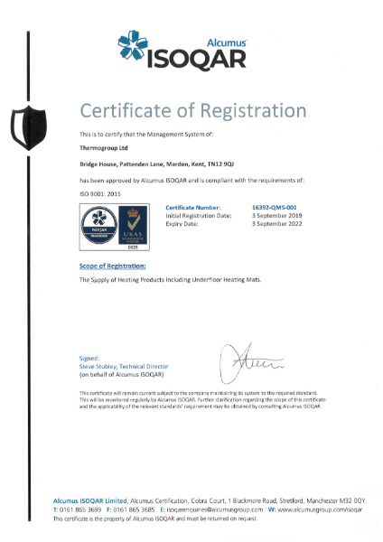 ISO 9001 Certificate - ThermoSphere
