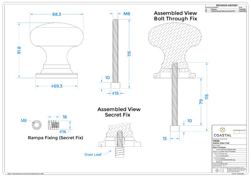 BLU™ - KM388 Centre Classic Door Pull CAD