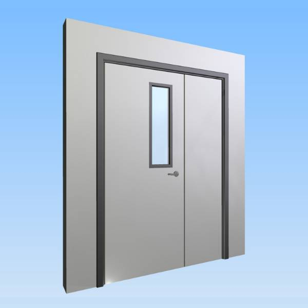 CS Acrovyn® Impact Resistant Doorset - Unequal pair with type VP3 Vision Panel