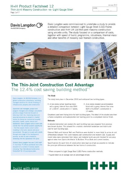 Light Gauge Steel vs Thin-Joint masonry