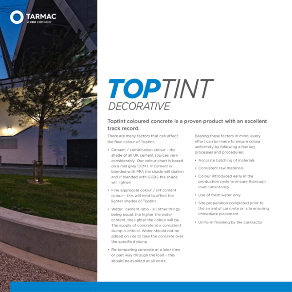 Toptint Decorative coloured, polished and exposed concrete