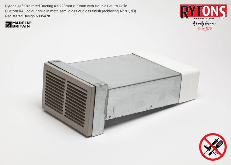 Rytons A1 Fire-rated Straight Ducting Kit 220 x 90 mm with Double Air Brick Grille