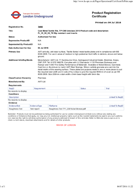 AATi certificate for AATi Anti-slip Corduroy / Tacile Plate ref: TP1/200