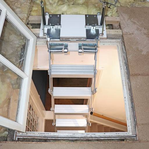 Glass loft hatch ladder from Premier Loft Ladders maintains period feature in Victorian home