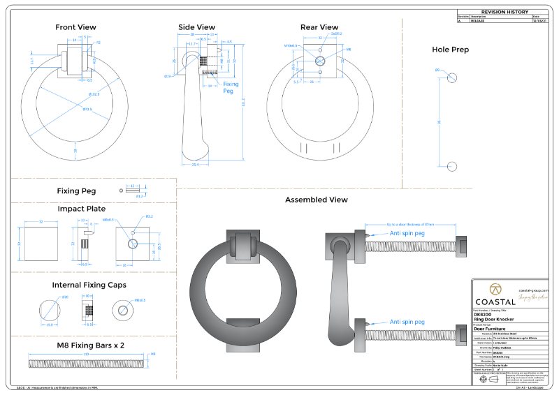 BLU™ - DKB200 Ring Door Knocker Drawing