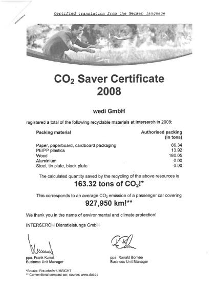 Co2 Saver Certificate