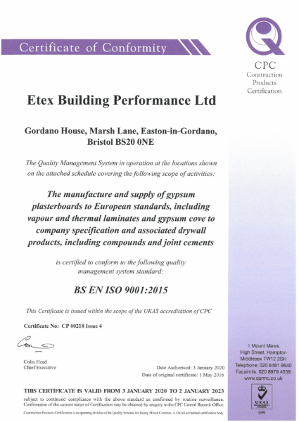 Etex Siniat Certificate of Conformity quality management system BS EN ISO 9001