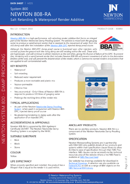 Newton 808-RA Salt Retarding and Waterproof Render Additive