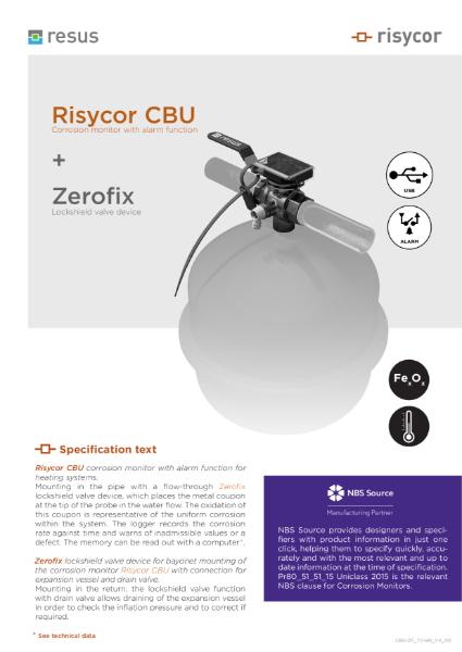 Risycor CBU-Zerofix set Technical Datasheet EN V4 00
