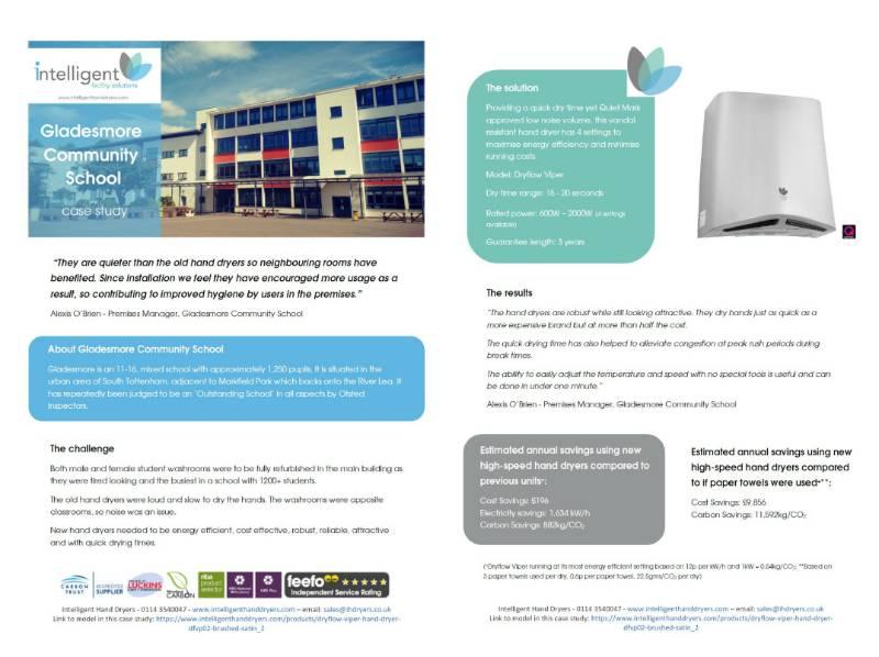 Hand Dryer Case Study (Secondary School) - Gladesmore Community School, Tottenham, London