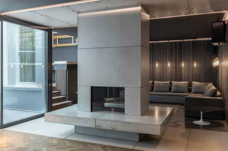 Concrete Wall Cladding - Basement Media Room