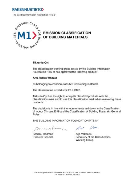 M1 CLASSIFICATION CERTIFICATE - ANTI REFLEX 2