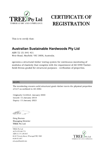 Certificate of Registration TREE Pty Ltd
