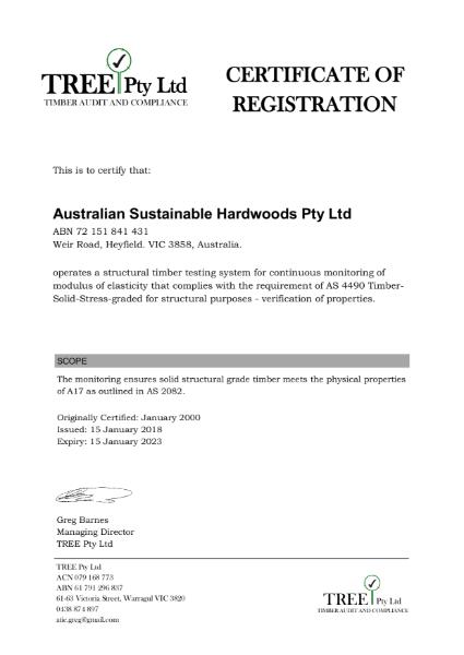 Certificate of Registration TREE Pty Ltd