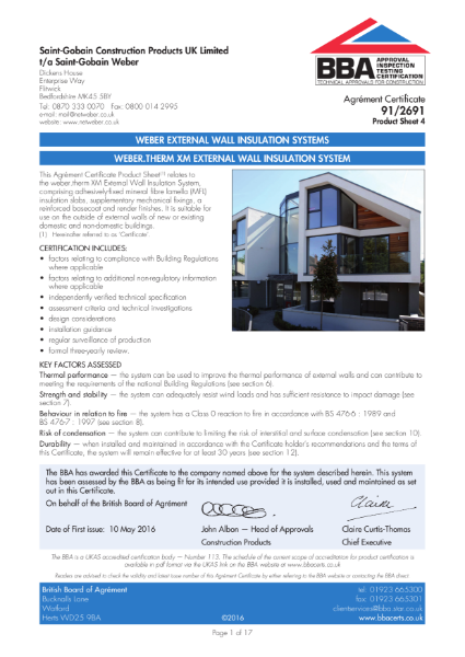 91/2691 Weber.Therm XM External Wall Insulation System (Product Sheet 4)
