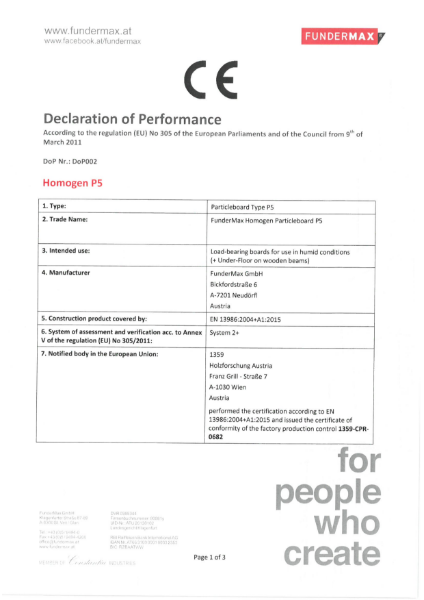 Declaration of Performance Homogen Particleboard P5
