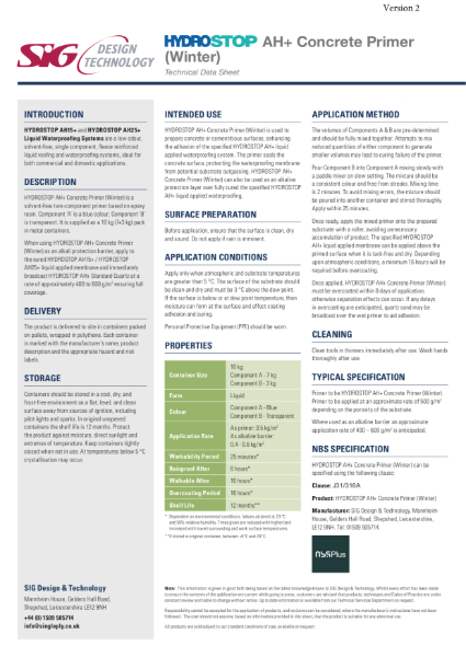 Hydrostop AH+ Liquid Waterproofing Concrete Primer (Winter) Datasheet