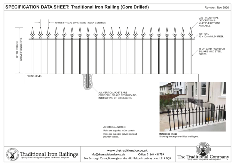Traditional Iron Railing (Core Drilled)