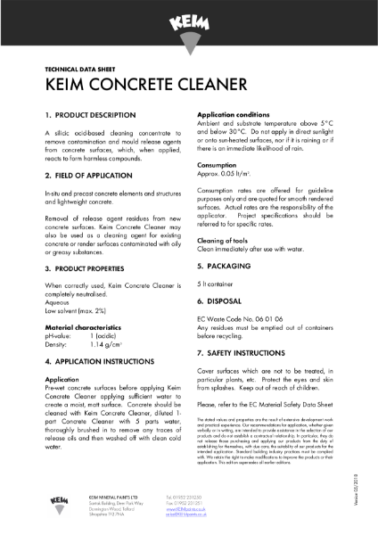 Keim Concrete Cleaner Technical Data Sheet