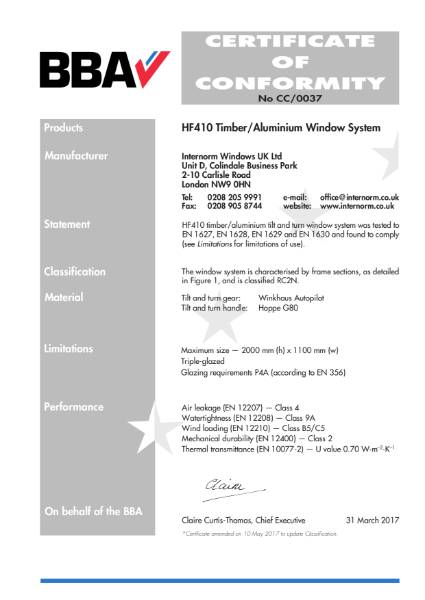 0037 Certificate of Conformity No CC/0037 BBA Certification Internorm HF410 Window