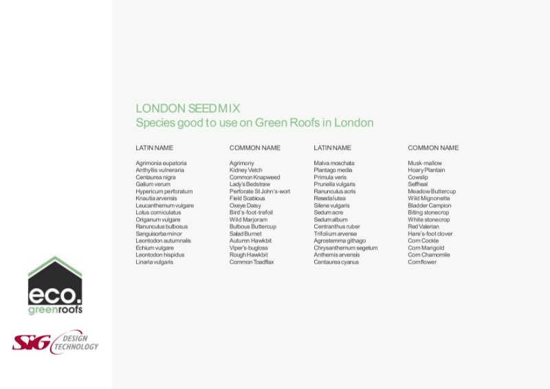 Eco Green Roofs London Seed Mix Datasheet
