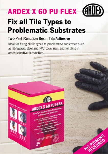 ARDEX X 60 PU FLEX Two-Part Reaction Resin Tile Adhesive