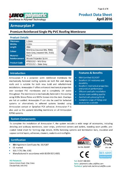 IKO Armourplan P PVC Single Ply Roofing Membrane datasheet