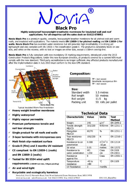 Novia Black Breather Membranes 115gsm and 146gsm