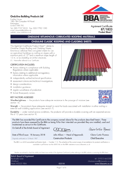 87/1823 Ondine classic roofing and cladding sheets